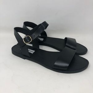 New Steve Madden Black Leather Donddi Sandals 7